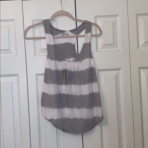 American Eagle grey and white striped tank top